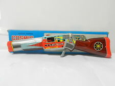 VINTAGE TIN FRICTION SPACE SPARKING COSMIC RAYS GUN IN BOX LITHO MIB BRAND SHUDO