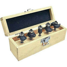 "5 Pc Carbide Tipped Router Bit Set 1/4"" Shank Multi-Purpose + Wood Case New"