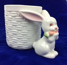 Fitz and Floyd 3D Bunny Carrot Weaved Basket Coffee Mug White Ceramic 12 Ounces