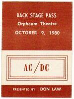 AC/DC *BACK STAGE PASS* OCTOBER 9, 1980 ORPHEUM THEATRE, BOSTON *UNUSED*