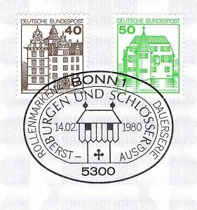 Frg 1980: Castles Wolfsburg And Inzlingen No. 1037 + 1038! Stamp Bonn !1A! 156