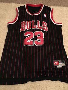Michael Jordan #23 Black & Red Pinstripe Mens XxL Stitched Jersey