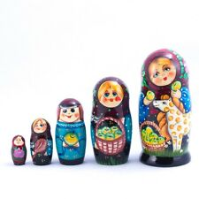 Russian Doll Nesting Doll Matryoshka Made in Russia 7'' 5 pcs Hand Painted