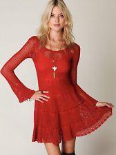 $250 Free People Boho Macrame Crochet Red Long Sleeve Festival Dress L- no slip