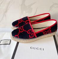 Gucci Terry Cloth GG LOGO Jute Platform Espadrille Flat Blue Red Velvet EU 39.5