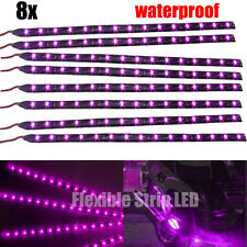 8X Noble Purple 30cm 15 LED 3528 SMD Flexible Strips Lights For Motorcycle Car