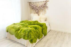 Green Sheepskin Rug  Merino Type Large Sizes Sheep Skin Sheepskin Throw Teppich