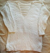 Vintage Chelsea Young Oversized 90s Sweater White Beaded Pearls Sz Small