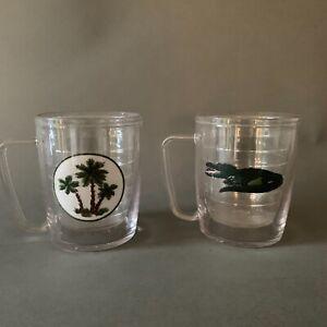 Vintage Tervis Alligator and Palm Tumblers Glasses Set Of 2