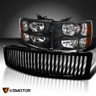 For 2007-2013 Chevy Silverado 1500 Black Headlightsglossy Black Vertical Grille