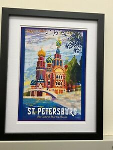Vintage Reproduction Retro St Petersburg Russia Travel Poster Print A4