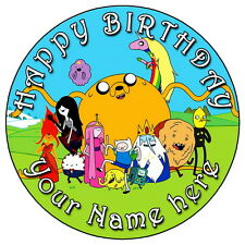 "ADVENTURE TIME - 7.5"" PERSONALISED ROUND EDIBLE ICING CAKE TOPPER"