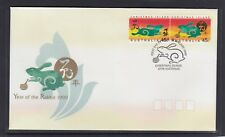 CHRISTMAS IS  1999  Year of the RABBIT design set pair   on FDC.