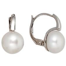 Boutons 585 Gold Weißgold 2 Süsswasser Perlen Ohrringe Ohrhänger H 14,6 mm