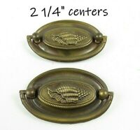 Pair Vintage Drop Pulls Embossed Conch Shell Nautical