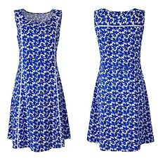 Simply Be Plus Size 24 Conalt Blue White  Print Linen Mix Summer DRESS Holiday