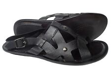 Giovanni Conti 602 Italian mens black leather sandals with back strap