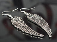Fashion Womens Rhinestone Angel Wings Earrings Silver Ear Drop Dangle New