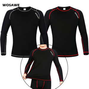 Mens Winter Cycling Base Layer Sports Tops Thermal Fleece Warmer Elastic Shirts