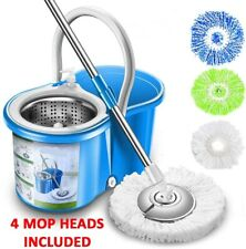 Professional Stainless Floor Cleaning System 4 Microfiber Mop Heads Included