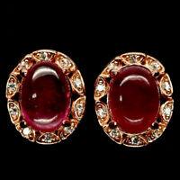 TOP RUBY EARRINGS : Natürliche Rosa Rot Rubin Ohrringe  Sterlingsilber E276