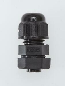 M8 Cable Gland Black Nylon, IP68, Complete with Locknut & Washer 2-4.8mm Cable