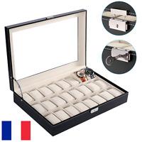 24 montres Coffret boîte à montre boîtier rangement bijoux présentoir Cuir FR