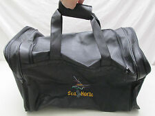 Vintage Sea Horse Boat Duffle Bag Carry On Overnight Black Strong Back Corp USA