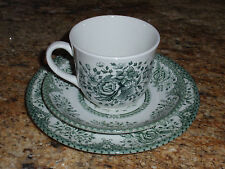 "Wood & Sons Fine  Dinnerware~ GREEN ""ROSE"" ~Cup/Saucer/Plate~Made in England"