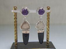 Amethyst. Agate Drusy. Black Onyx.14K & .925 Earrings