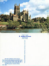 1970's WORCESTER CATHEDRAL & RIVER SEVERN UNUSED COLOUR POSTCARD