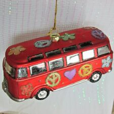 Red Glittered VW Van Bus Peace signs flowers Glass Christmas Ornament Hippy 3F2