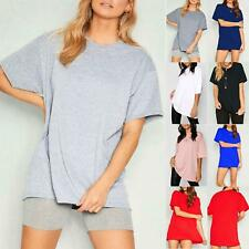 Ladies Basic Stretchy Jersey Casual Plain Oversized Baggy Womens T Shirt Tee Top