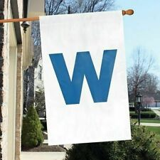 """Chicago Cubs """"w"""" 2-sided 28x44 Premium Embroidered Applique Banner Flag Baseball"""