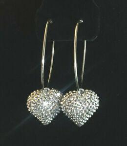 "Hoop Earrings Silver Plated Silver Rhinestone Heart Fashion Statement 3.5"" #1444"