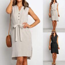 Womens Sleeveless Cotton Linen V Neck Mini Shirt Dress Ladies Slim Fit Tunic Top