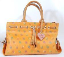Dooney & Bourke Signature Orange Leather Handbag Purse Vintage Canvas Tassel