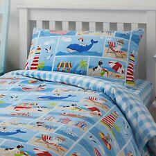 Dogs Beach Seaside Blue Red Cotton Blend Toddler Duvet Cover