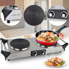 1800W Kitchen Portable Electric Double Burner Cast Iron Cooktop Countertop Stove