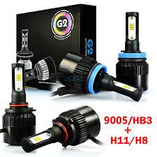 JDM ASTAR White 9005 H11 Combo CSP LED Headlights Kit High Low Beam Bulbs 2 Set