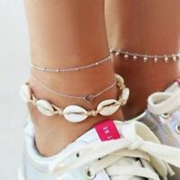 3PCS/set Natural Sea Shell Bead Anklet Heart Charm Bracelet Chain Foot Jewellery