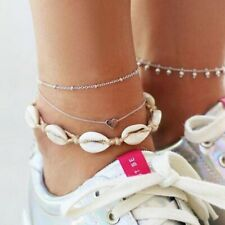 Heart Charm Bracelet Chain Foot Jewellery 3Pcs/set Natural Sea Shell Bead Anklet