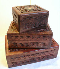 Set of 3 Boxes - Floral Hand Carved Wood Jewellery Trinket Box Small Med Large