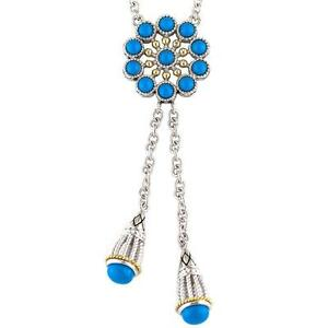 Andrea Candela 18k Yellow Gold & Silver Blue Turquoise Cable Necklace ACN143-TQ