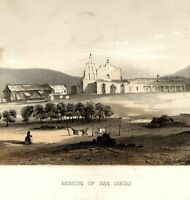 San Diego California mission Army settlement 1856 American West R.R. color print