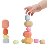 Creative Wooden Building Block Colored Stone Educational Toys Kids Stacking Game