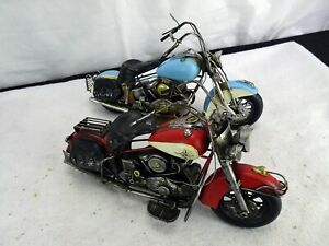 """TWO Zaer Ltd. Indoor/outdoor iron 16"""" Metal Motorcycle Decorations Blue & Red"""