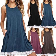 Women's Dress Retro Mini Lace Sleeveless Tunic Dress Soild Plus Size Casual Tops