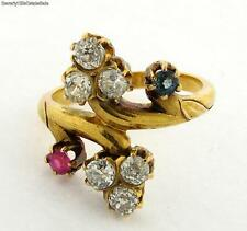 Antique Art Nouveau Diamonds Sapphire Ruby 18K Yellow Gold Ring