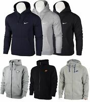 Nike Mens Fleece Hoodie Hooded Jacket Sweatshirt Jumper Black Grey